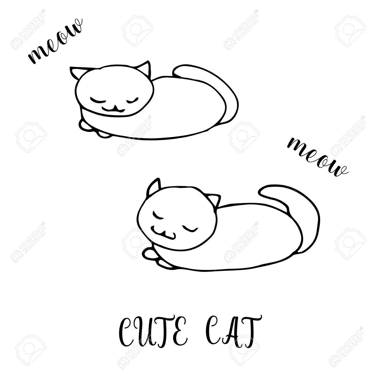 Niños Dibujo De Un Gato Lindo. La Plantilla Para La Pintura ...