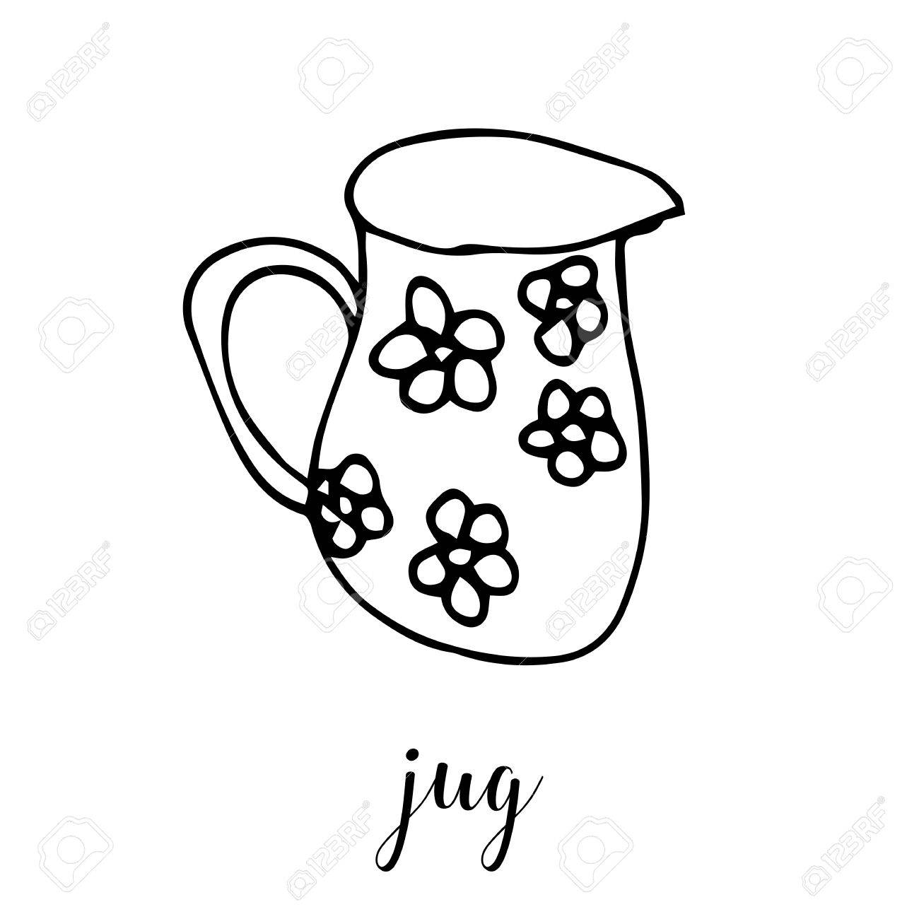 Childrens Drawing A Jug The Template For The Painting Hand Royalty Free Cliparts Vectors And Stock Illustration Image 68974659