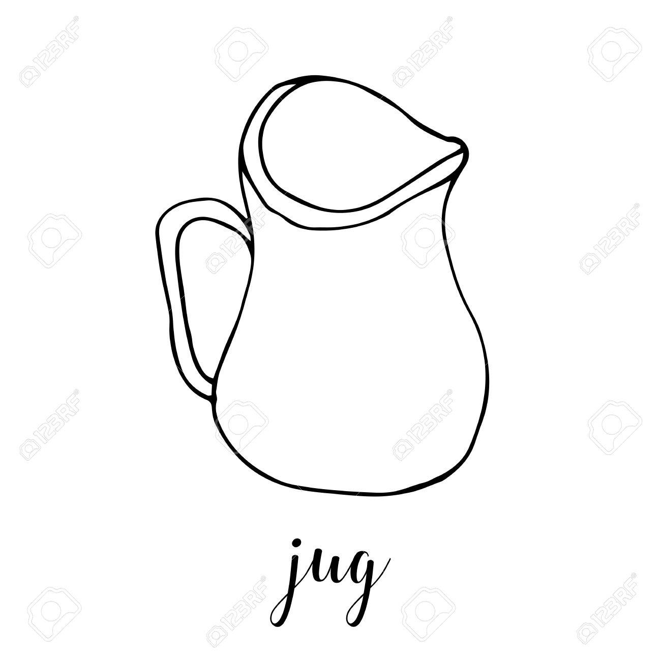 childrens drawing a jug the template for the painting hand drawn dishes in a - Drawing Template For Kids