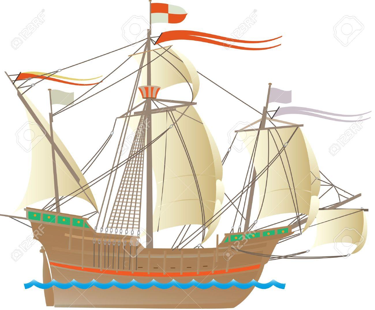 Uno De Los Barcos De Cristóbal Colón Ilustraciones Vectoriales Clip