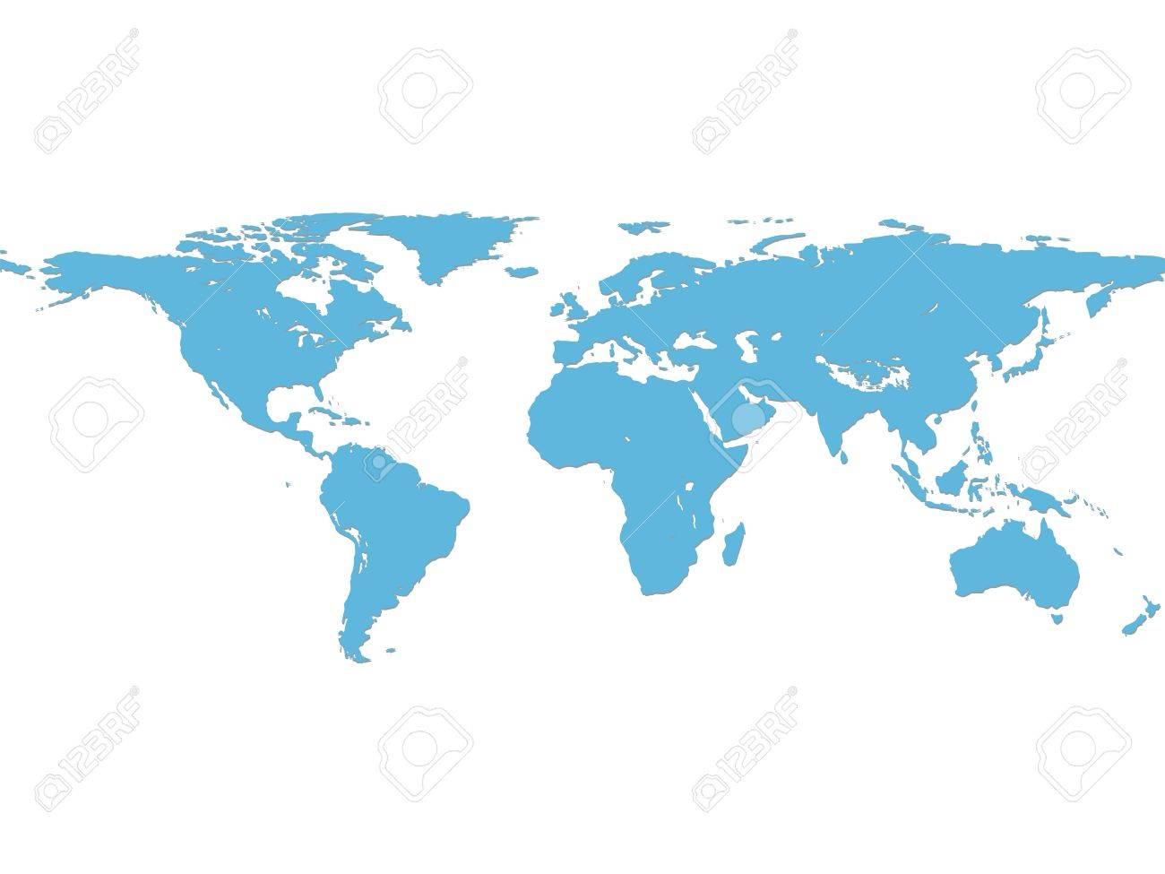 Illustration World Map With Light Blue Color Royalty Free Cliparts - World map in blue color
