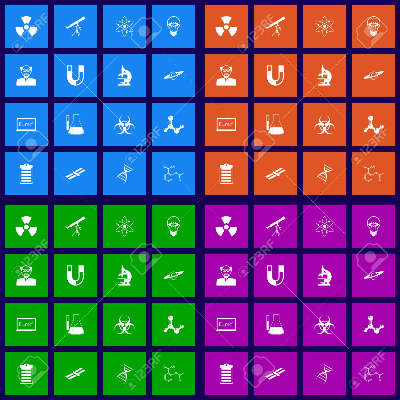 Science flat icons set graphic illustration Stock Vector - 25633961