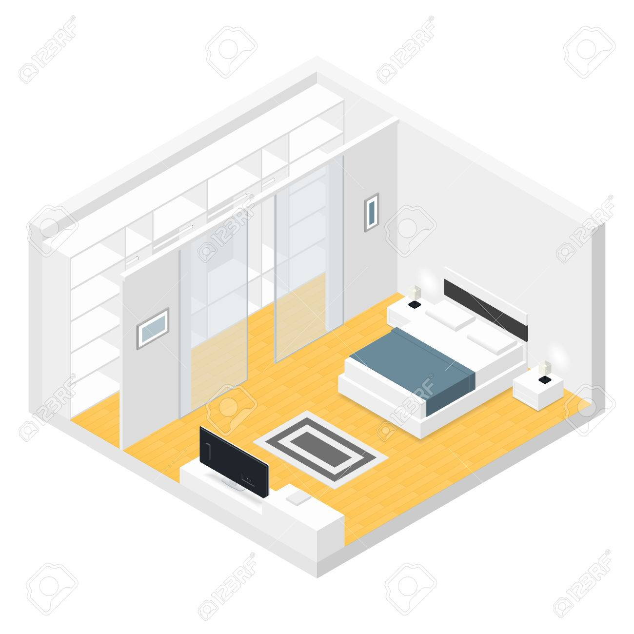 Graphy Bedroom Bedroom Isometric Set Vector Graphic Illustration Design Royalty