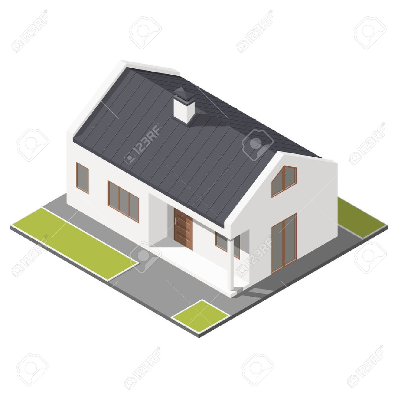 one storey house with slant roof isometric icon set graphic one storey house with slant roof isometric icon set graphic illustration stock vector 55345645