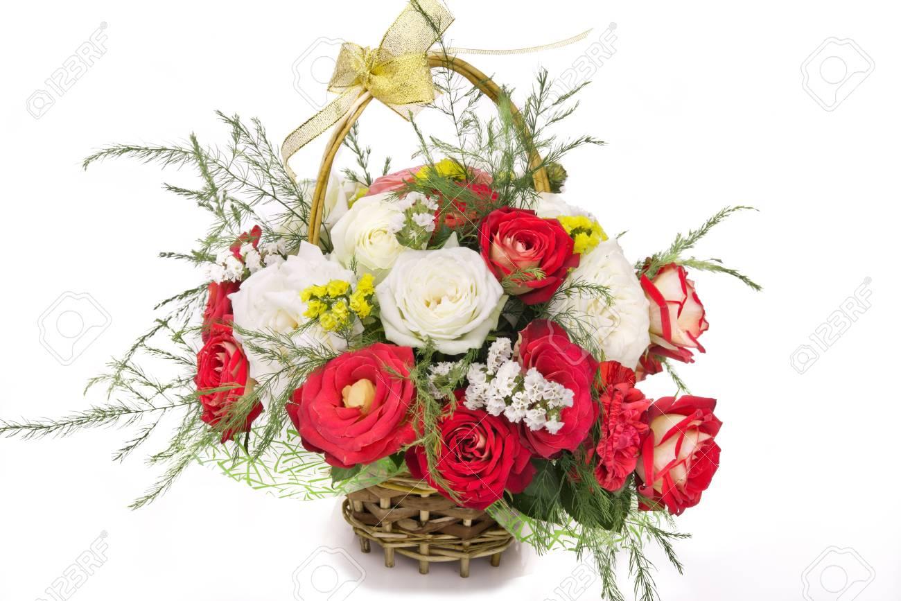 Beautiful flowers in a wicker basket on a white background stock beautiful flowers in a wicker basket on a white background stock photo 73769302 izmirmasajfo