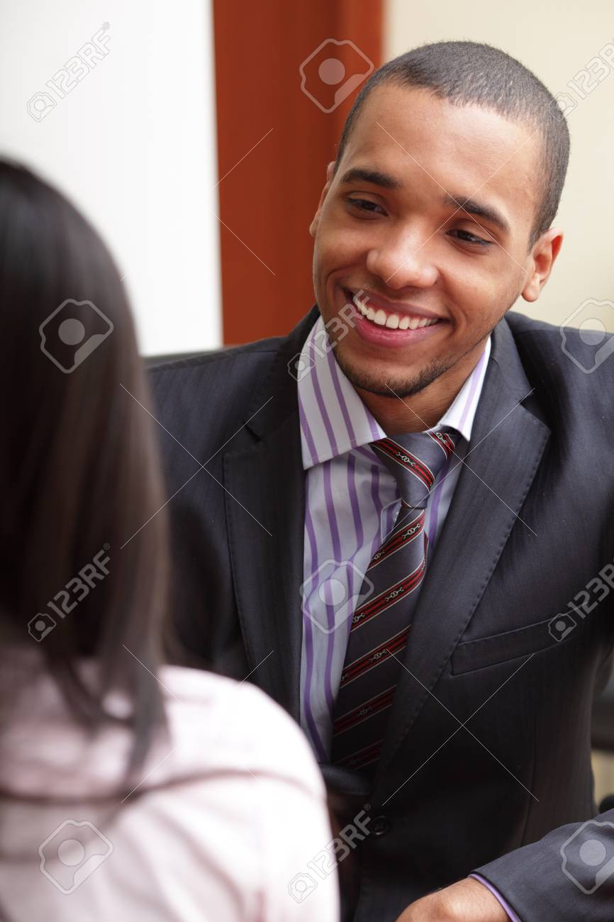 Two businesspartners having a conversation and laughing Stock Photo - 9282872