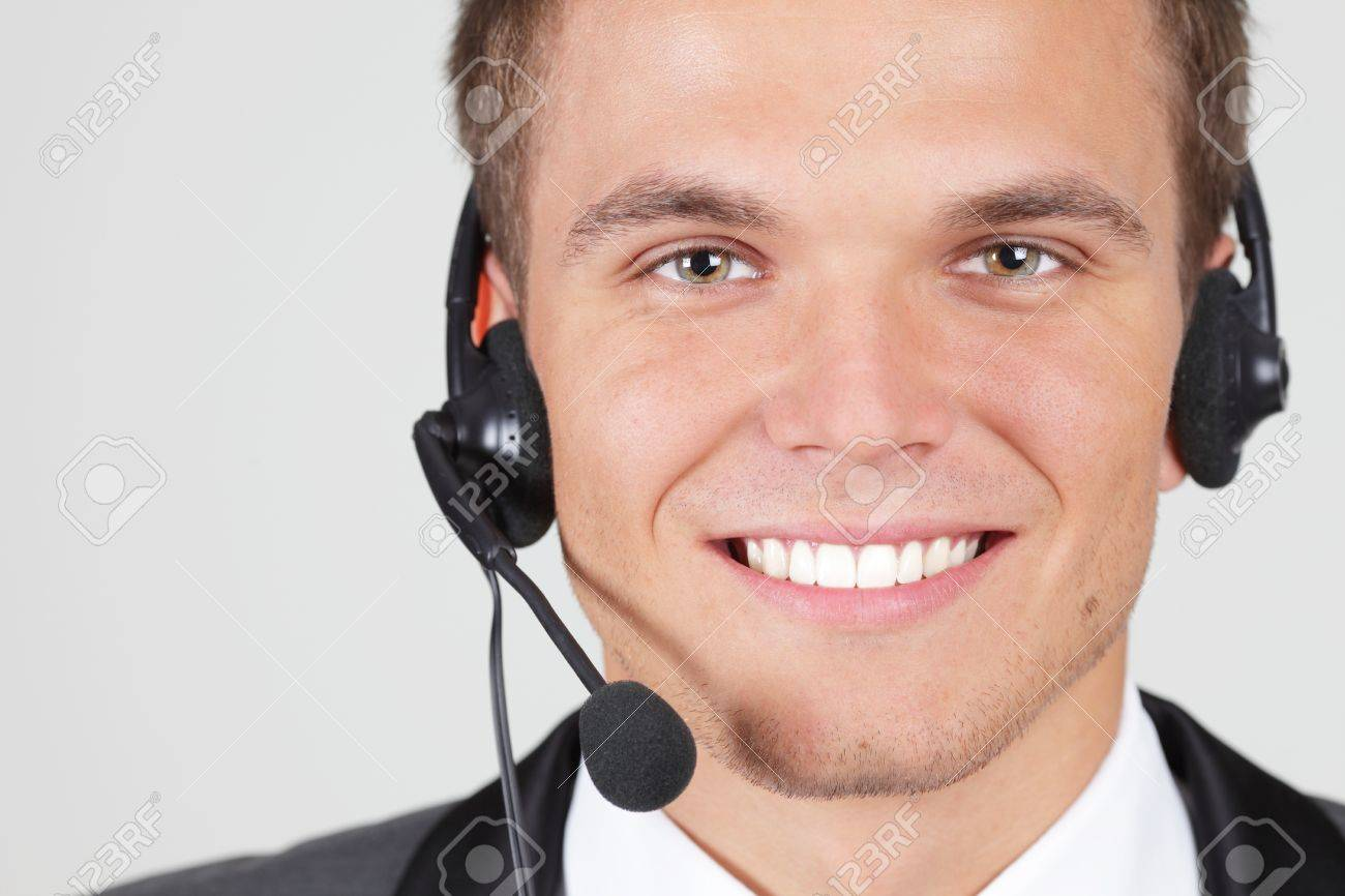 Customer support operator woman smiling isolated Stock Photo - 9282730