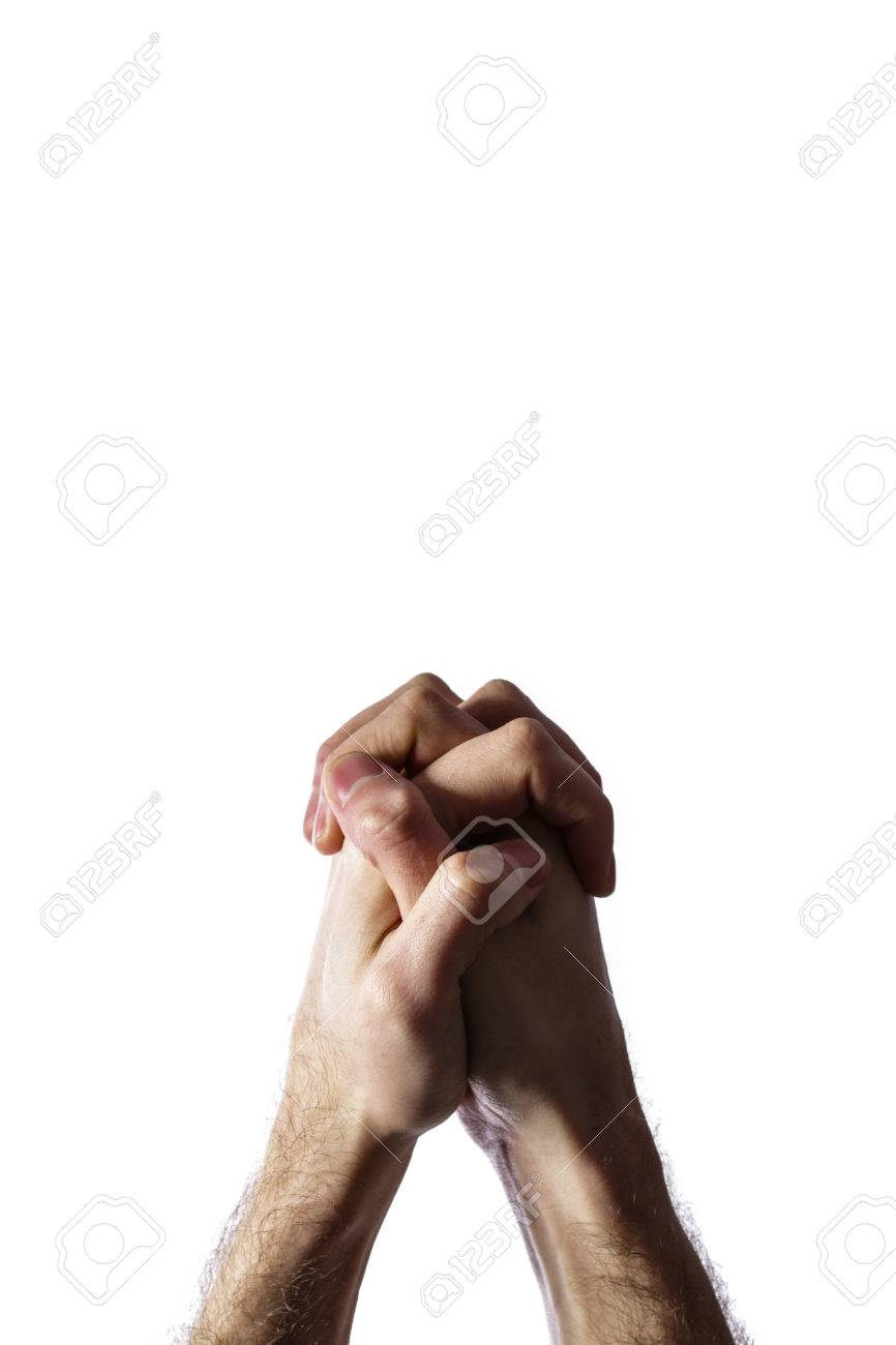 Hands clasped together for a prayer isolated on a white background