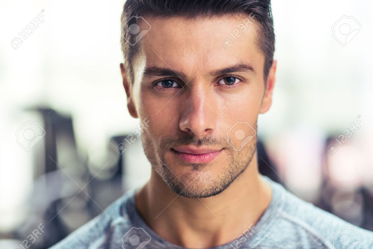 Closeup portrait of a handsome man at gym stock photo 45025475