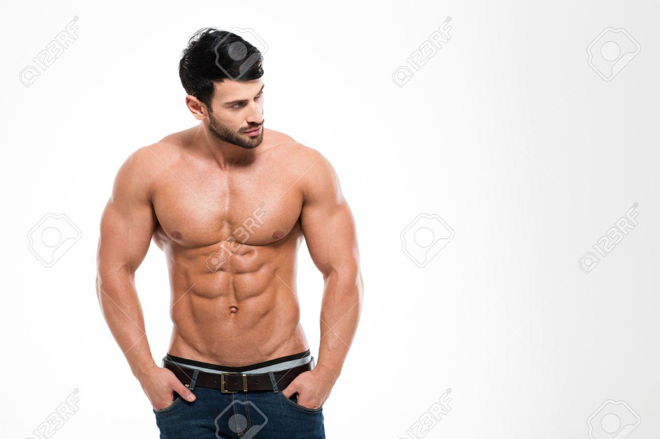 Portrait Eines Fitness-Mann Mit Nackten Oberkörper Stand Isoliert ...