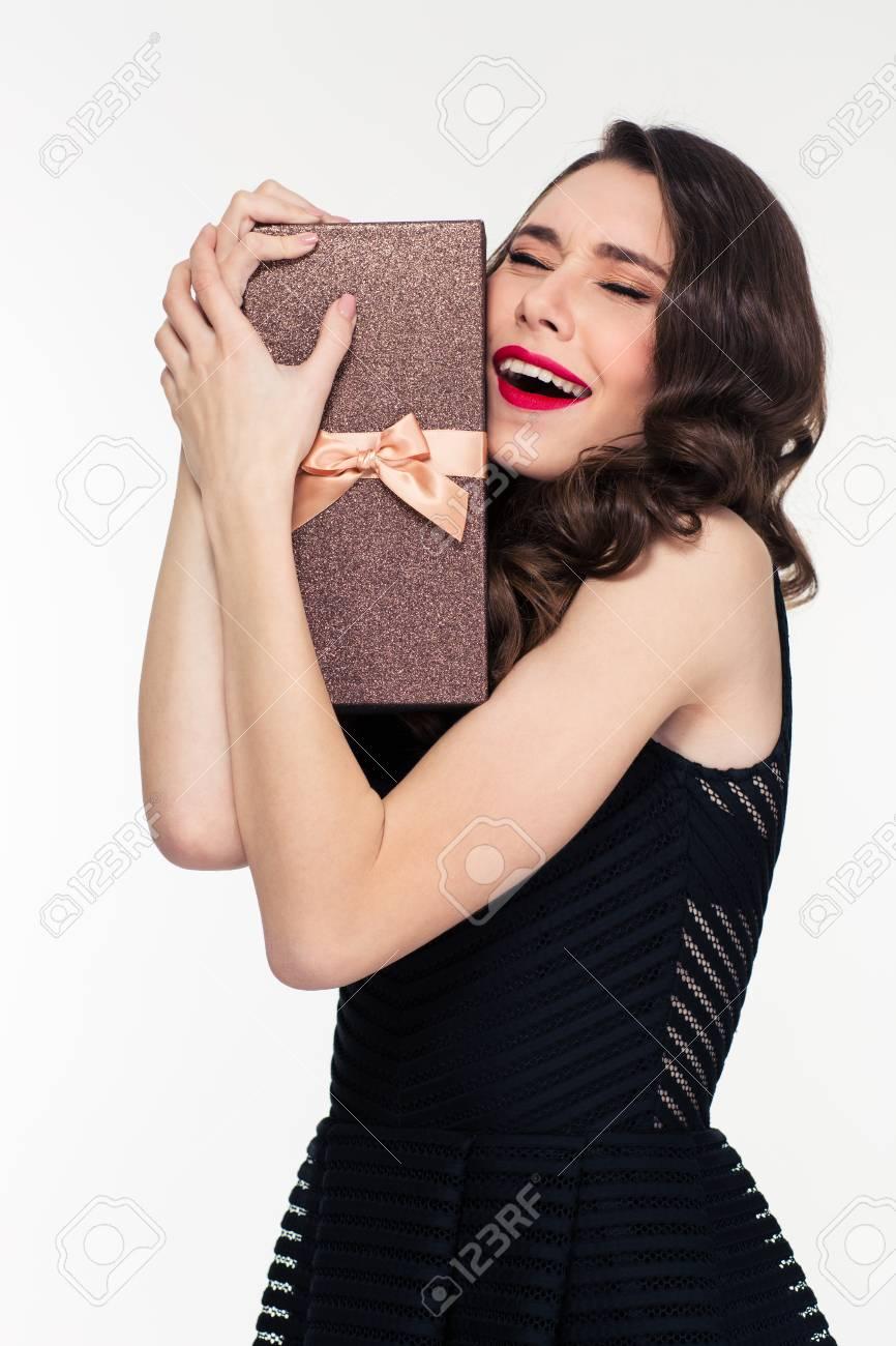 Mujer Joven Y Bonita Euforico Emocionados Con El Peinado Retro En