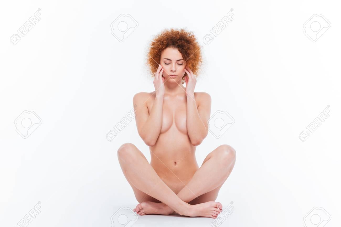 Advantage golden curling hair on nude women