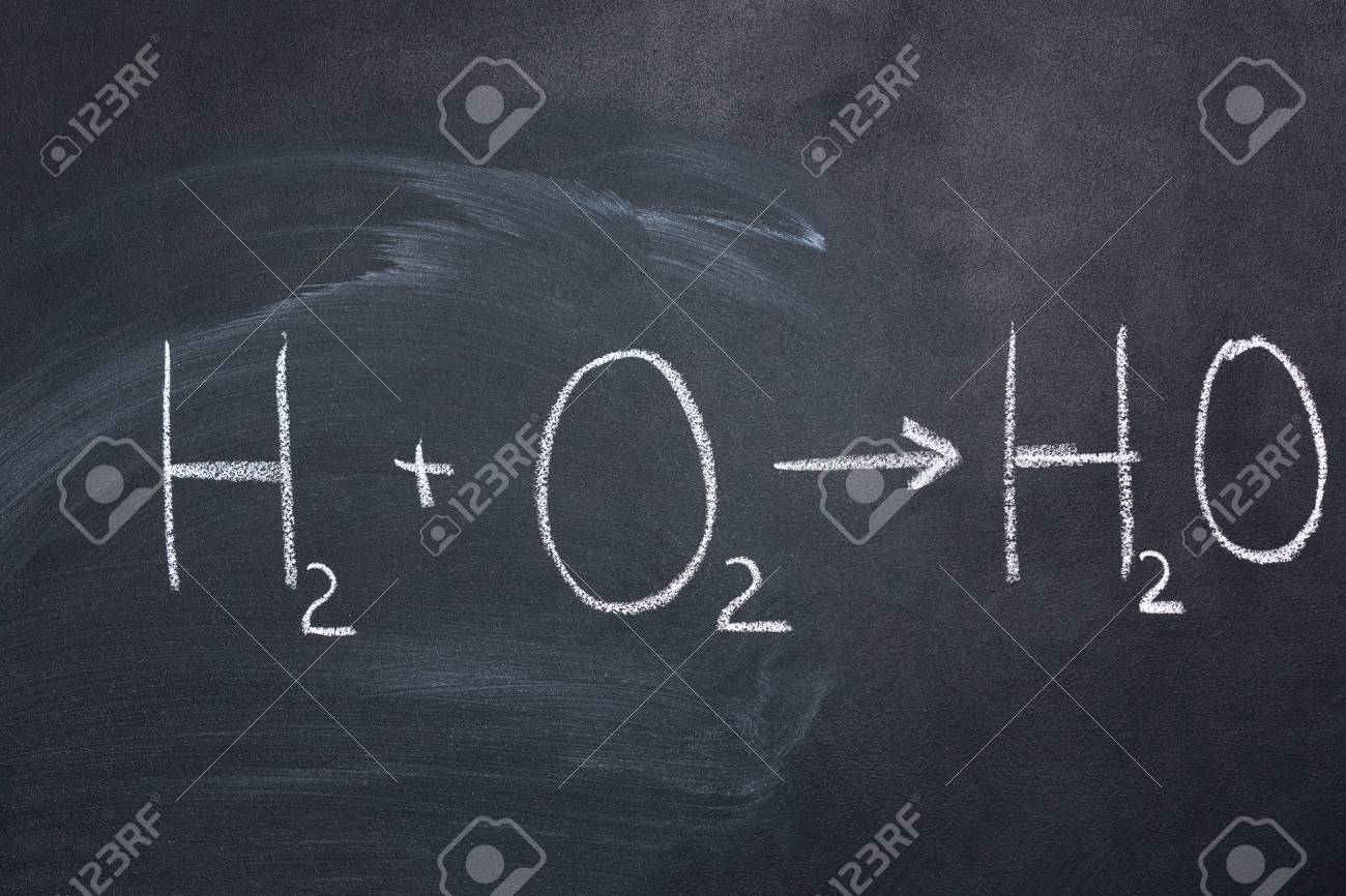 Chemical Formula Of Water Drawn On Blackboard By Chalk Stock Photo ...