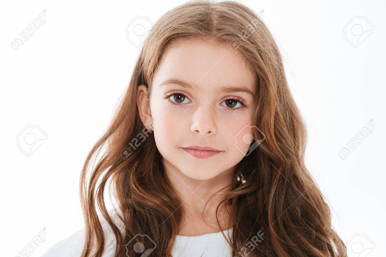 Stupendous Closeup Of Pretty Cute Little Girl With Long Hair Over White Schematic Wiring Diagrams Phreekkolirunnerswayorg