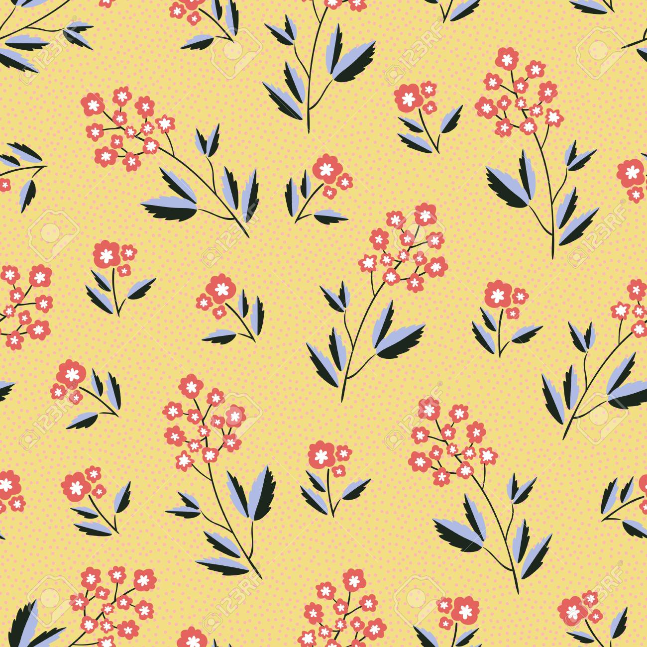 Simple Floral Pattern Over Yellow Background Vector Illustration