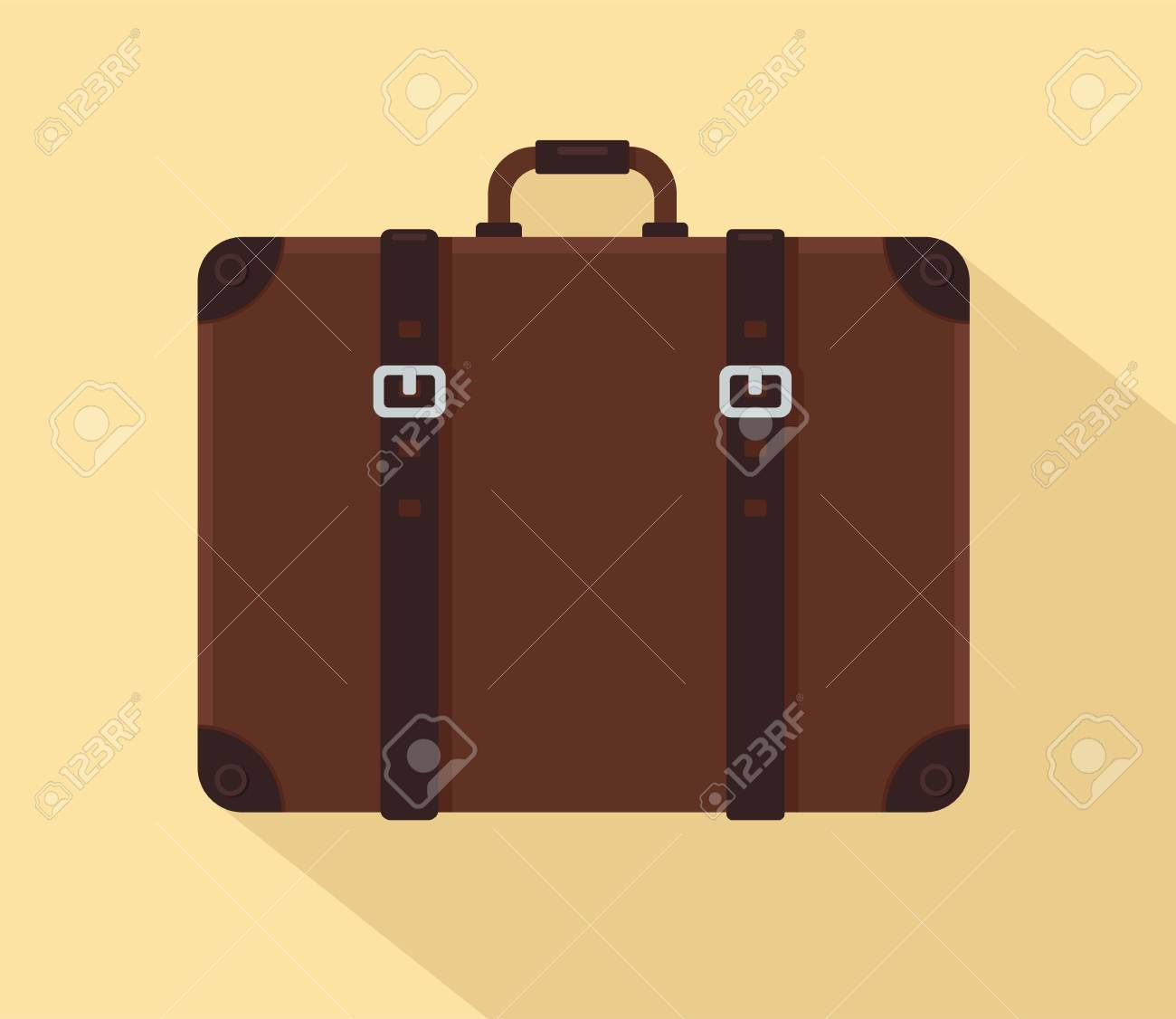 Brown vintage suitcase with leather belts. Vector illustration - 90823682
