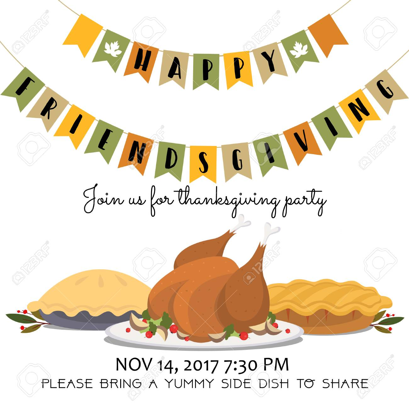 happy friendsgiving invitation card with roasted turkey and pies