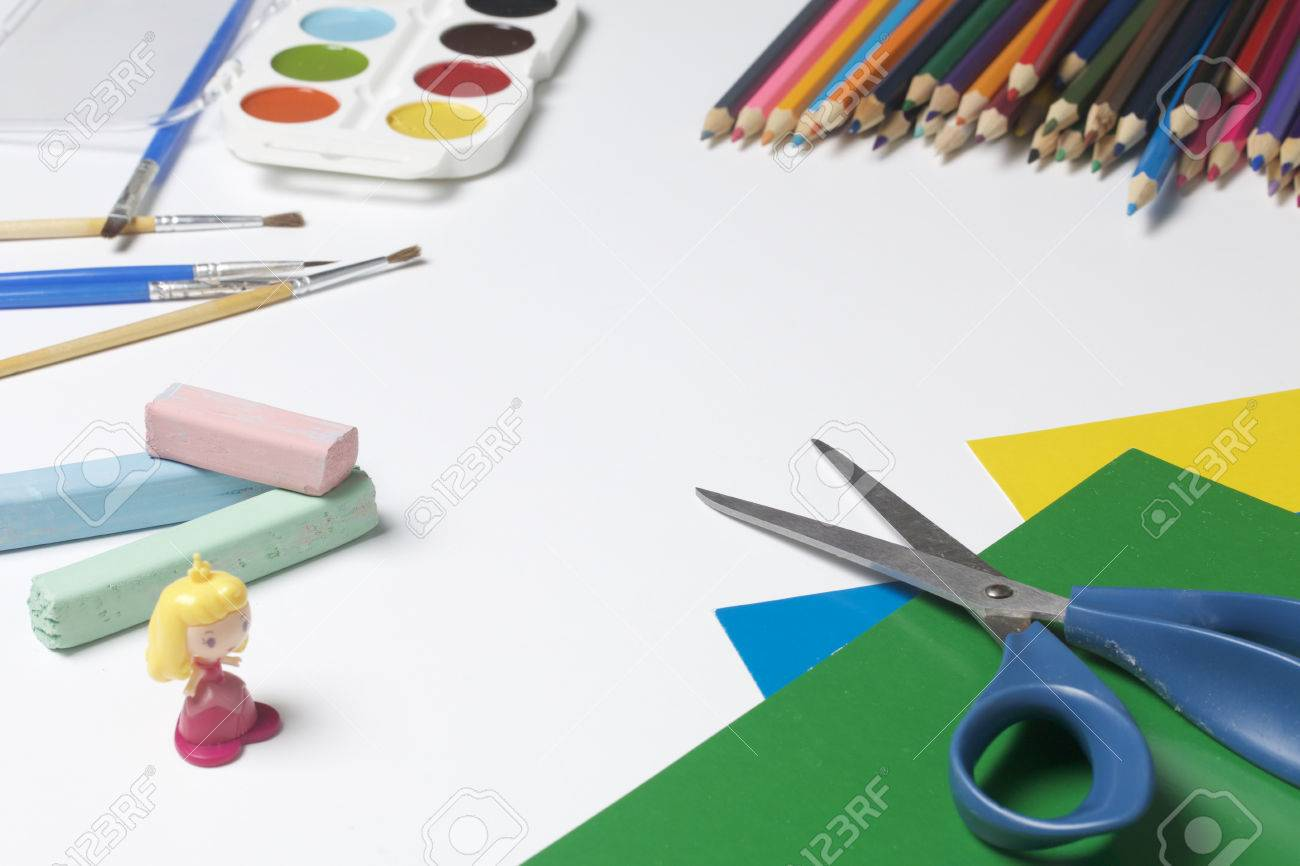 School accessories for creativity color pencils watercolor with brushes color paper and scissors