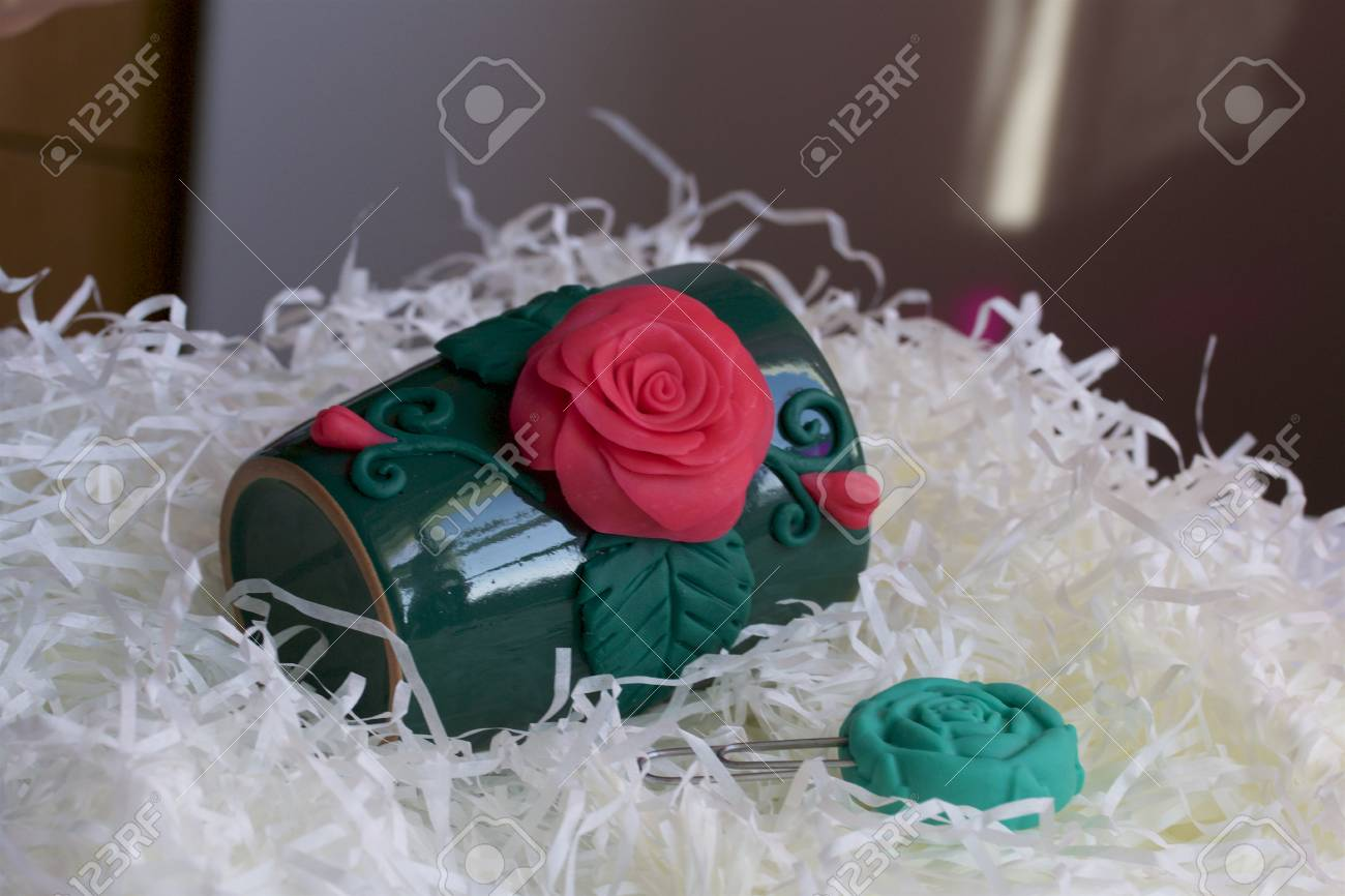 Crafts From Polymer Clay Mug Decorated With Stucco Made Of Polymer Stock Photo Picture And Royalty Free Image Image 110661675