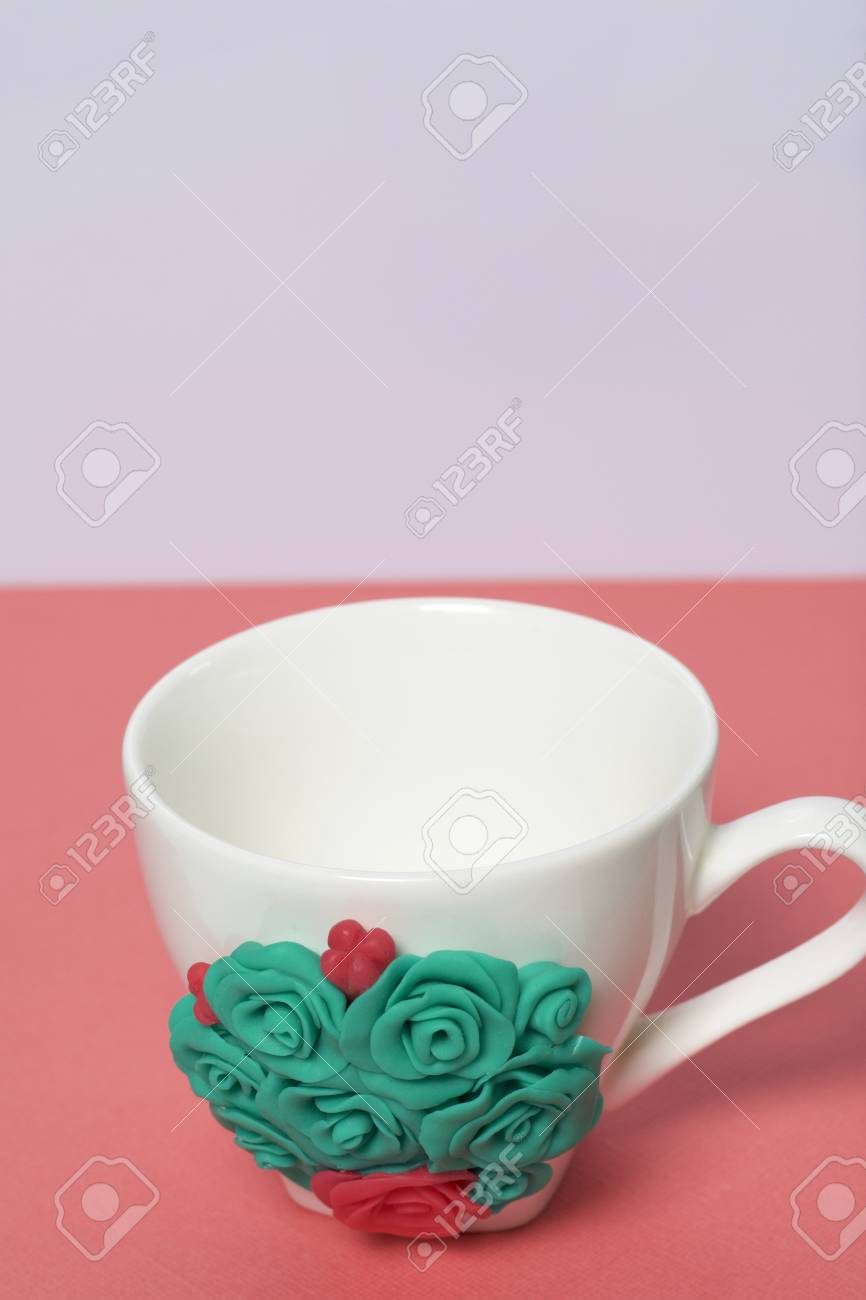 Mug Decorated With Flowers Made Of Polymer Clay Crafts From Stock Photo Picture And Royalty Free Image Image 117066422