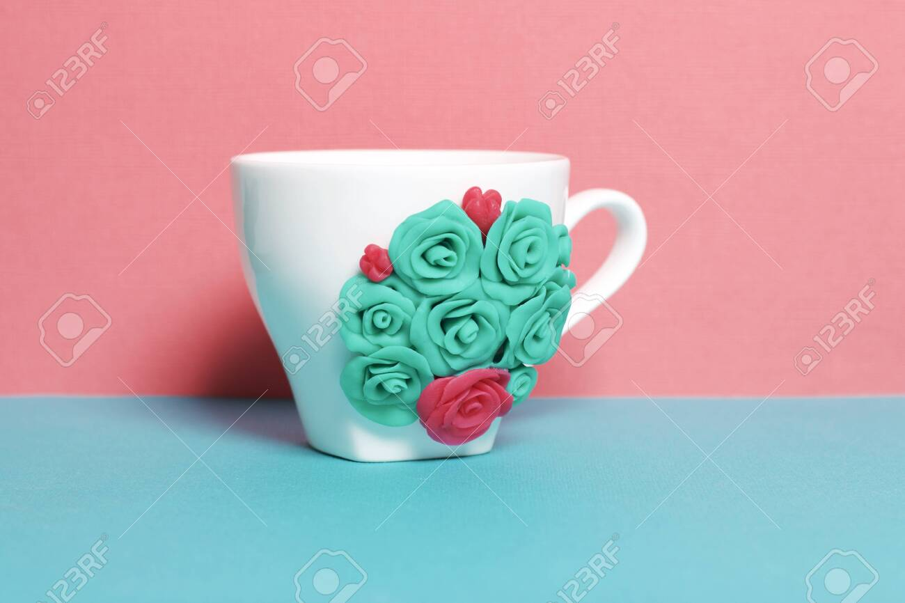 Mug Decorated With Flowers Made Of Polymer Clay Crafts From Stock Photo Picture And Royalty Free Image Image 117066428