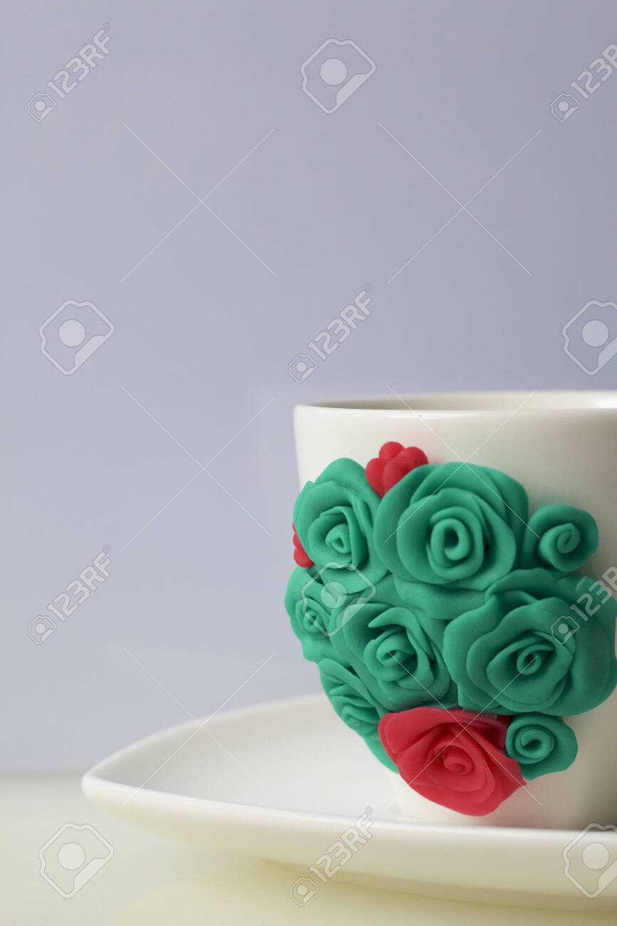 Mug Decorated With Flowers Made Of Polymer Clay Crafts From Stock Photo Picture And Royalty Free Image Image 117066436
