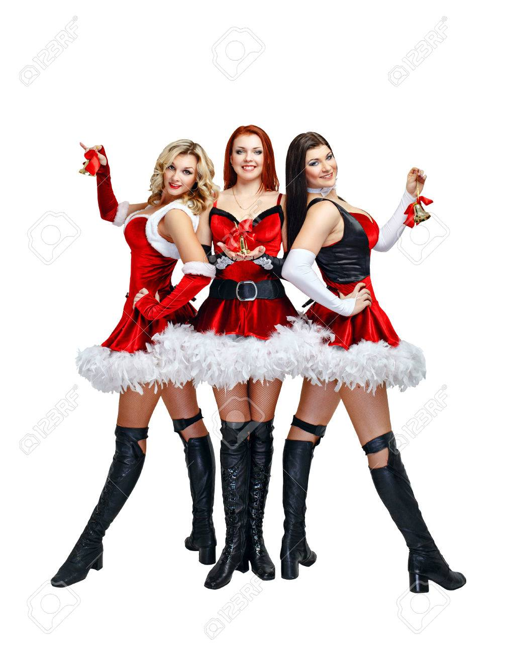 Attractive young womens in carnival costumes and Christmas bells Stock Photo - 24433608  sc 1 st  123RF.com & Attractive Young Womens In Carnival Costumes And Christmas Bells ...