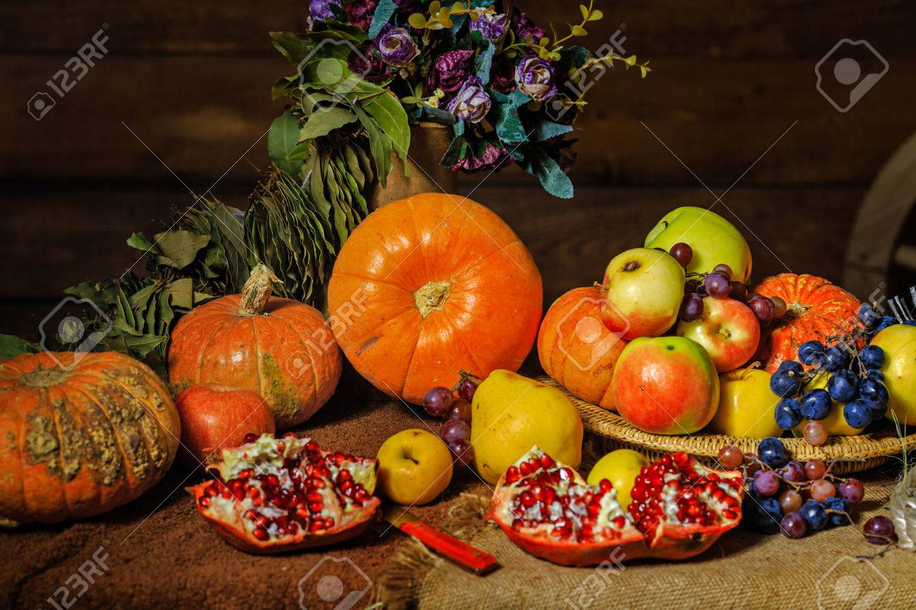 still life harvest festival of fresh and ripe fruits and