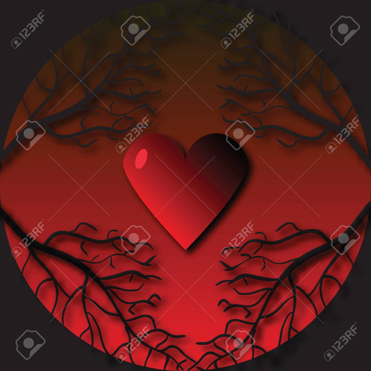 Gothic Frame With Tree Branches And Heart Background On Valentines Day Stock Vector