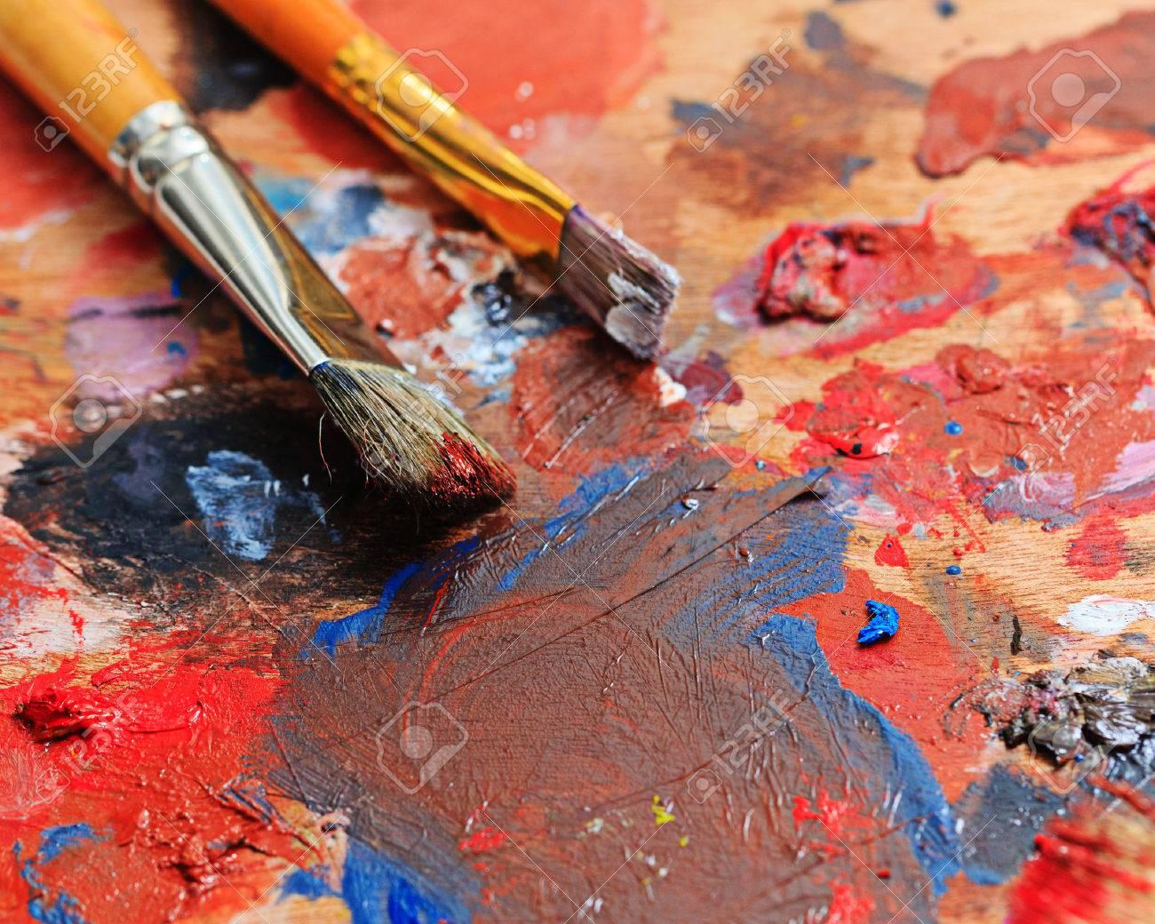 Brush and oil paint artist shot closeup - 36586715