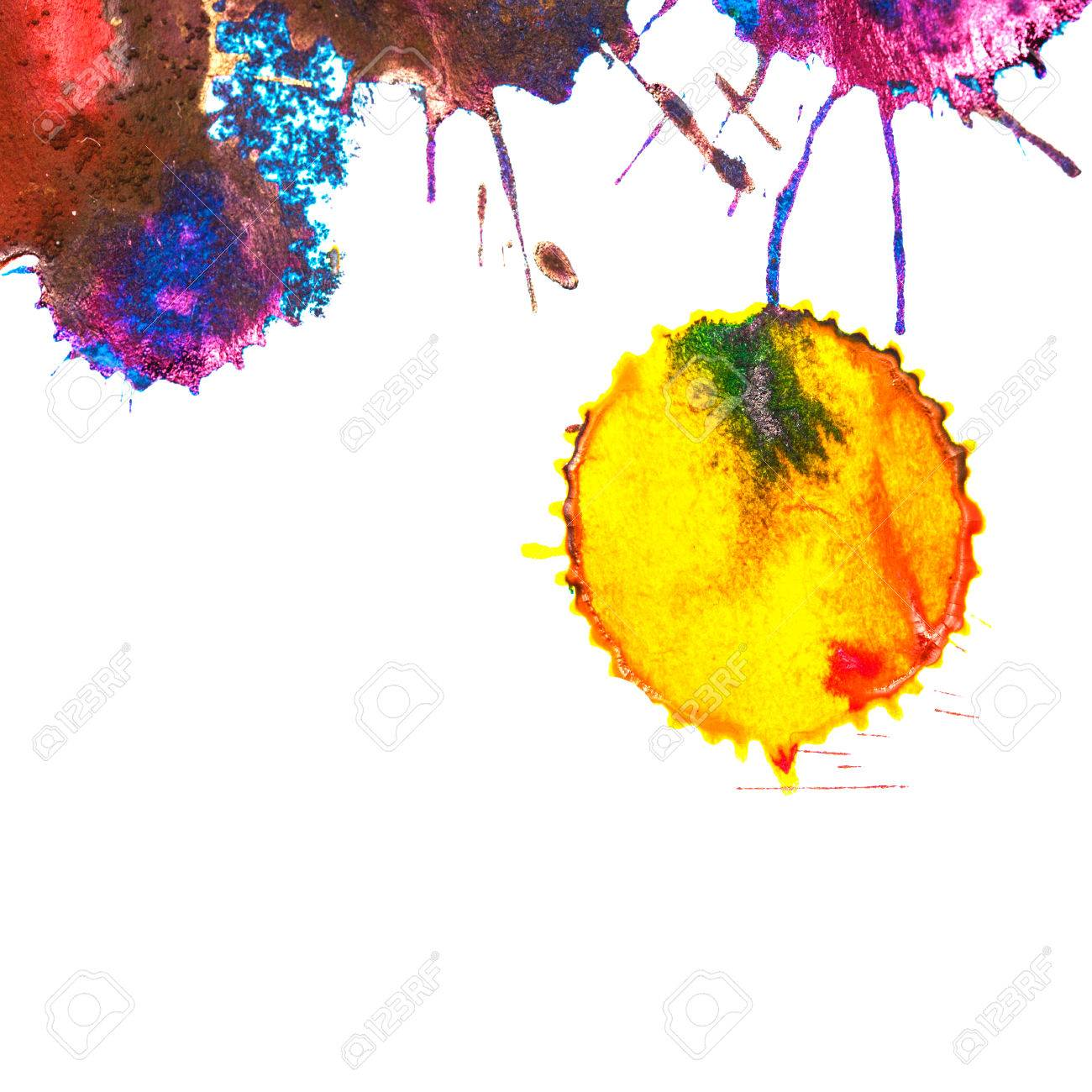949a7de659e Banque d images - Jaune encre couleur arc-en-tache sur un fond blanc.  Éléments de conception graphique. résumé Art.