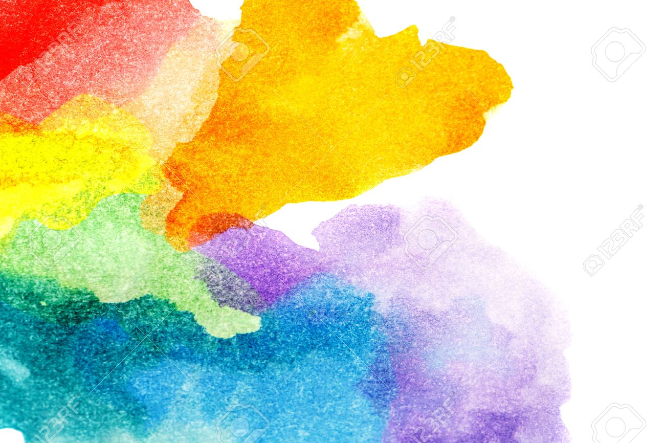 Rainbow abstract watercolors. Colorful background. Design elements. Red, orange, yellow, green, blue, purple paint. Colorful spectrum. - 39031787