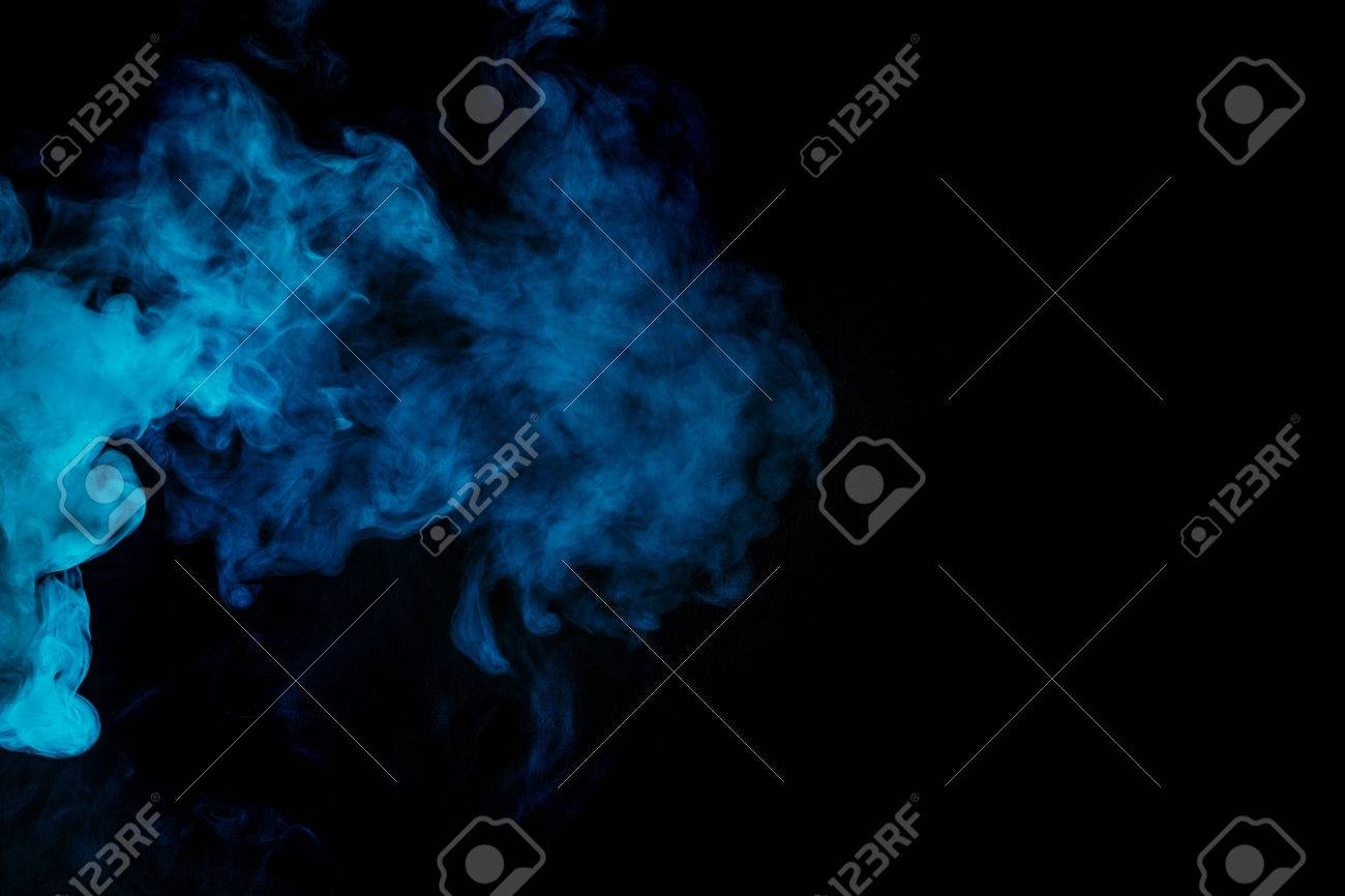 Abstract blue hookah smoke on a black background  Photographed