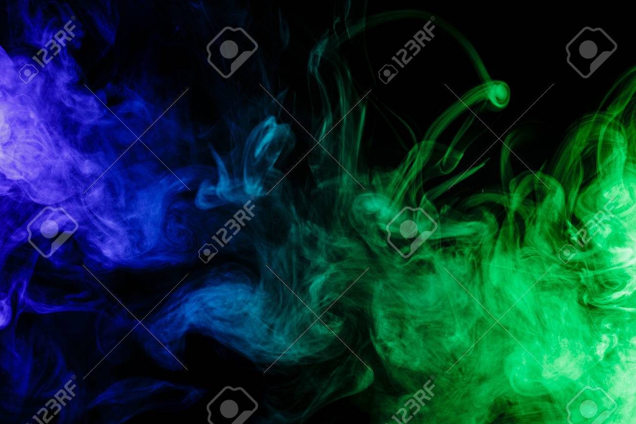 Abstract Art. Colour Blue-green Smoke Hookah On A Black Background ...