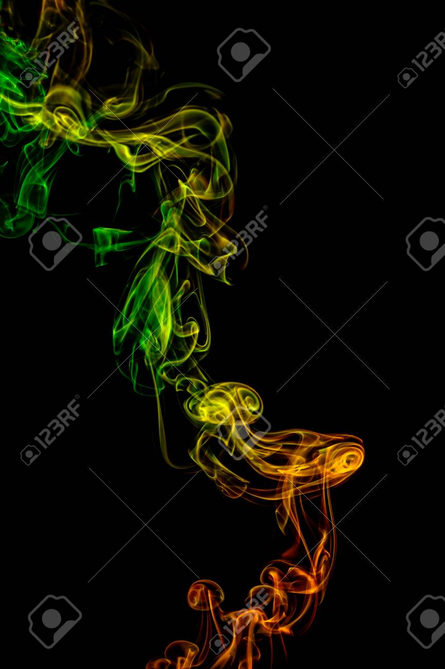 Abstract Art Color Yellow Green Orange Smoke From The Aromatic