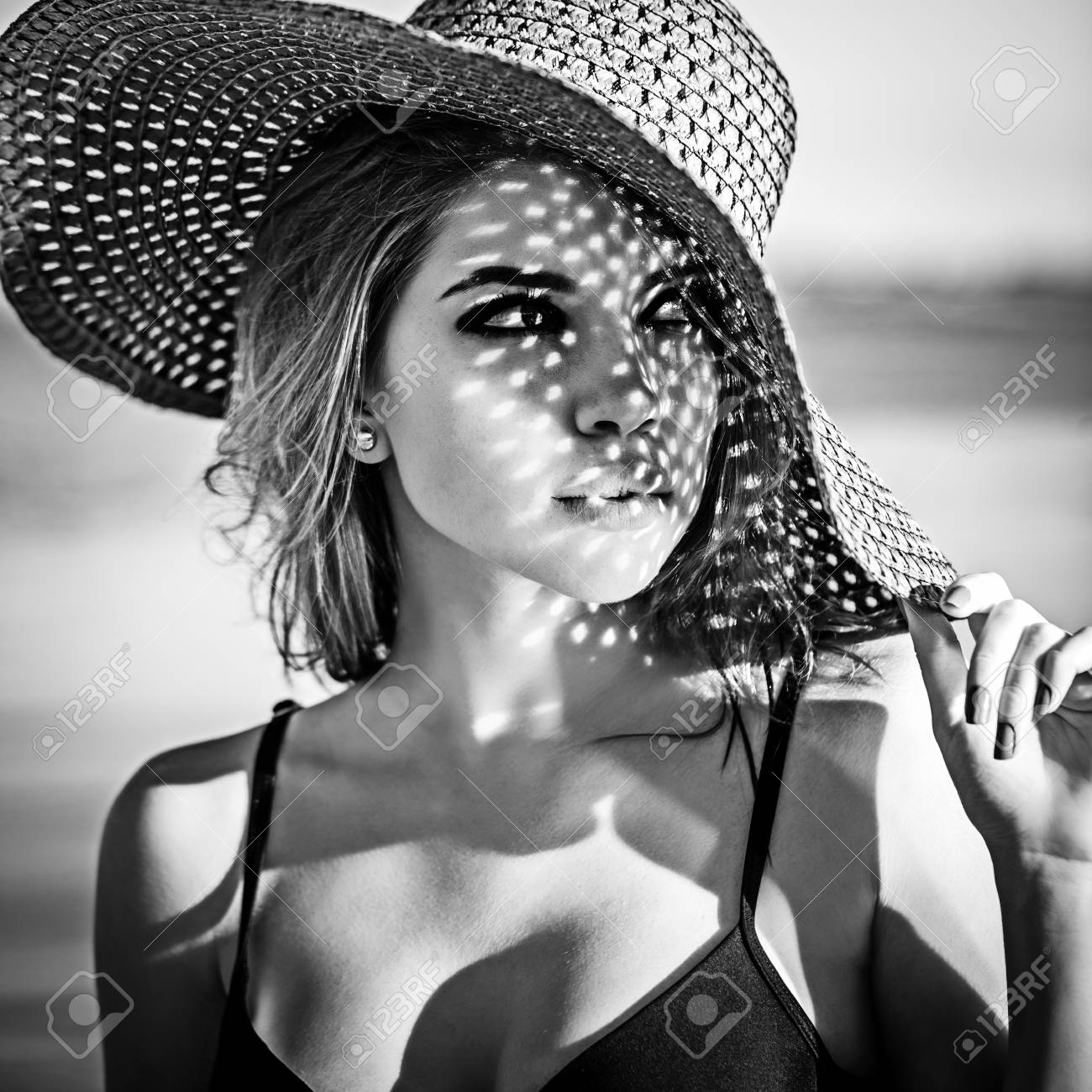 The concept of summer vacation black and white photography