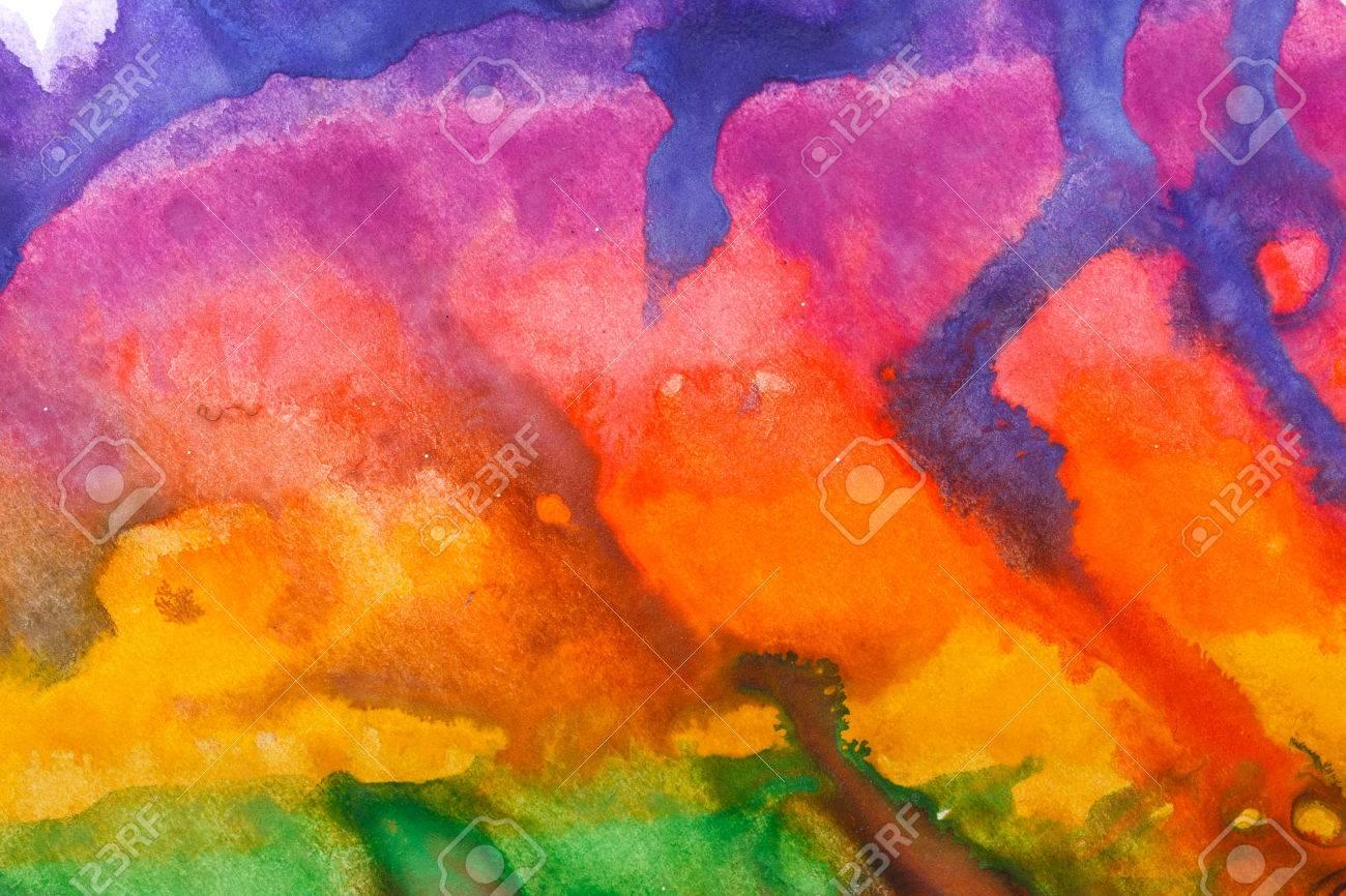Aquarell Abstrakte Kunst Zeichnung Im Stil Der Kinder Blau Lila Rot Orange Gelb Grun Tonen Design Elemente Lizenzfreie Fotos Bilder Und Stock Fotografie Image 51565955
