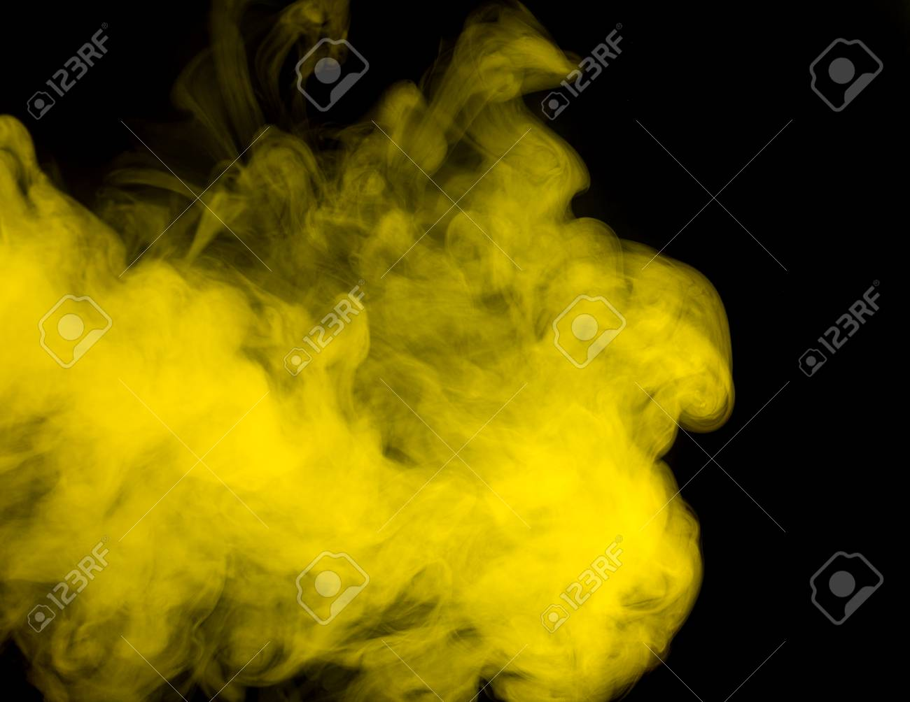 Abstract Art Yellow Smoke Hookah On A Black Background Inhalation