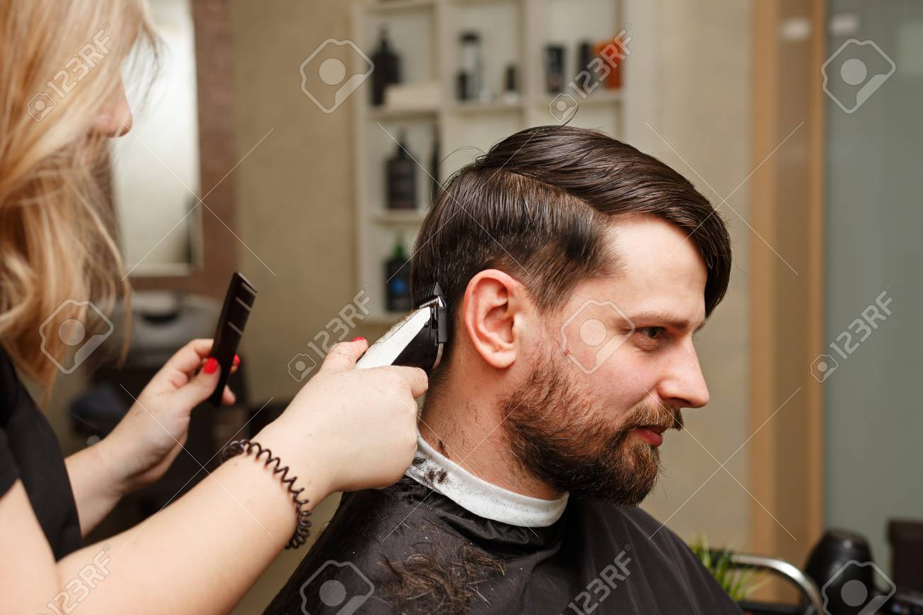 Tremendous Professional Hairdresser Doing Haircut Mens Hair Cutting Natural Hairstyles Runnerswayorg