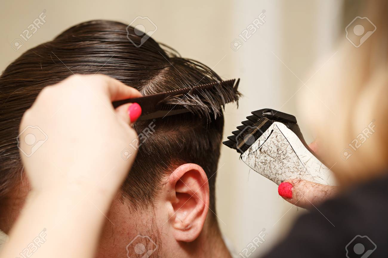 Fabulous Professional Hairdresser Doing Haircut Mens Hair Cutting Natural Hairstyles Runnerswayorg