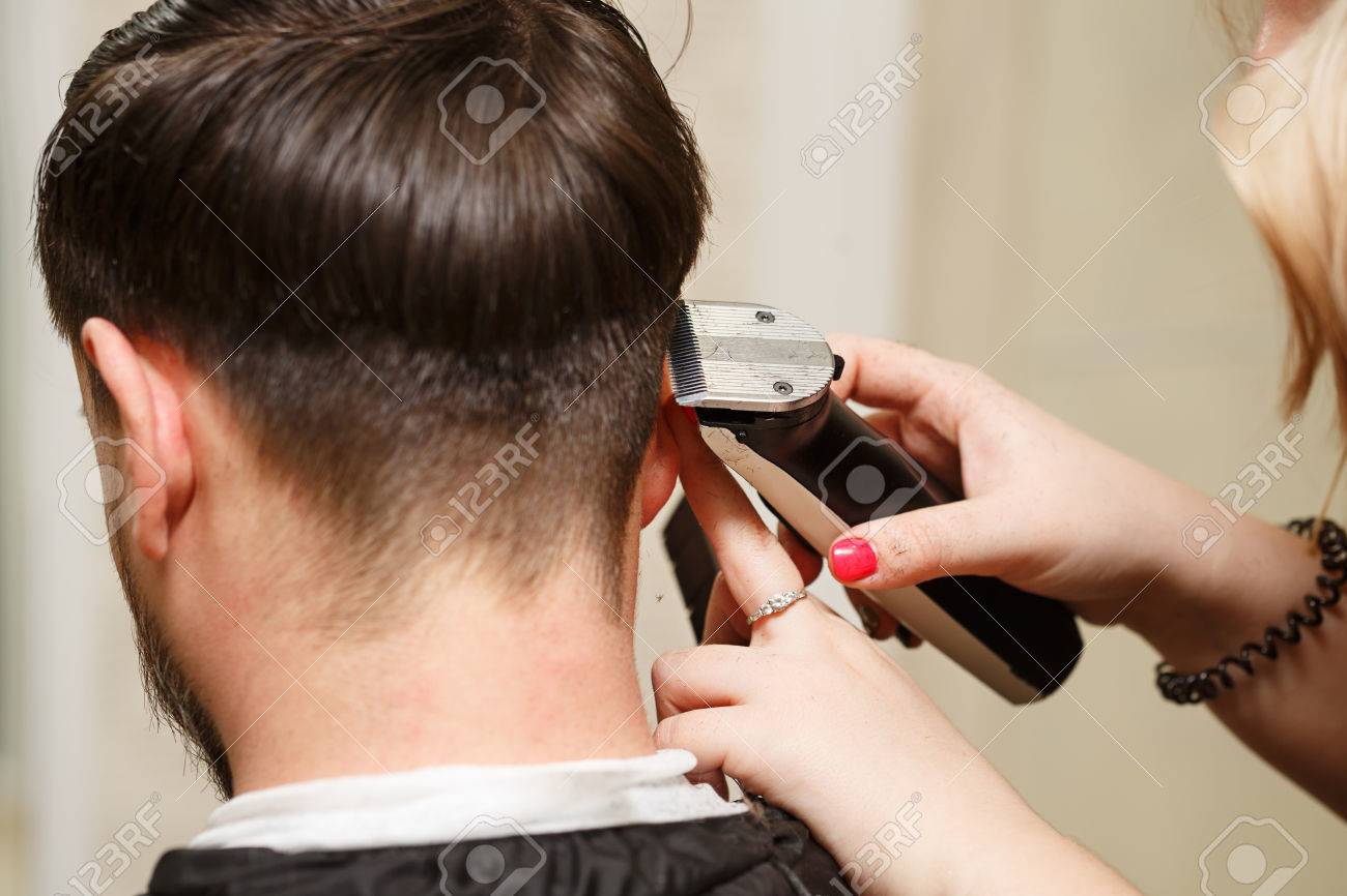 Stupendous Professional Hairdresser Doing Haircut Mens Hair Cutting Natural Hairstyles Runnerswayorg