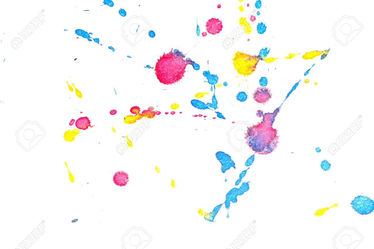 Abstrakte Rote, Gelbe Und Blaue Tinte Splash. Tintenflecken Elemente ...