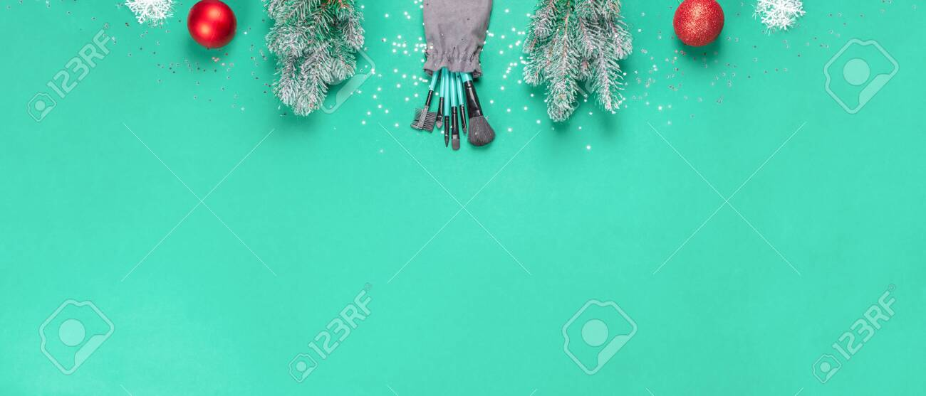 Christmas banner, make-up, gift for make-up artist. Brushes for make-up, Christmas decorations. - 157644133