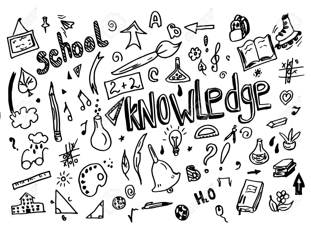 Sketchy vector School doodle hand drawn element with lettering school and knowledge light bulb, geometry triangle doodle cartoon - 150476297