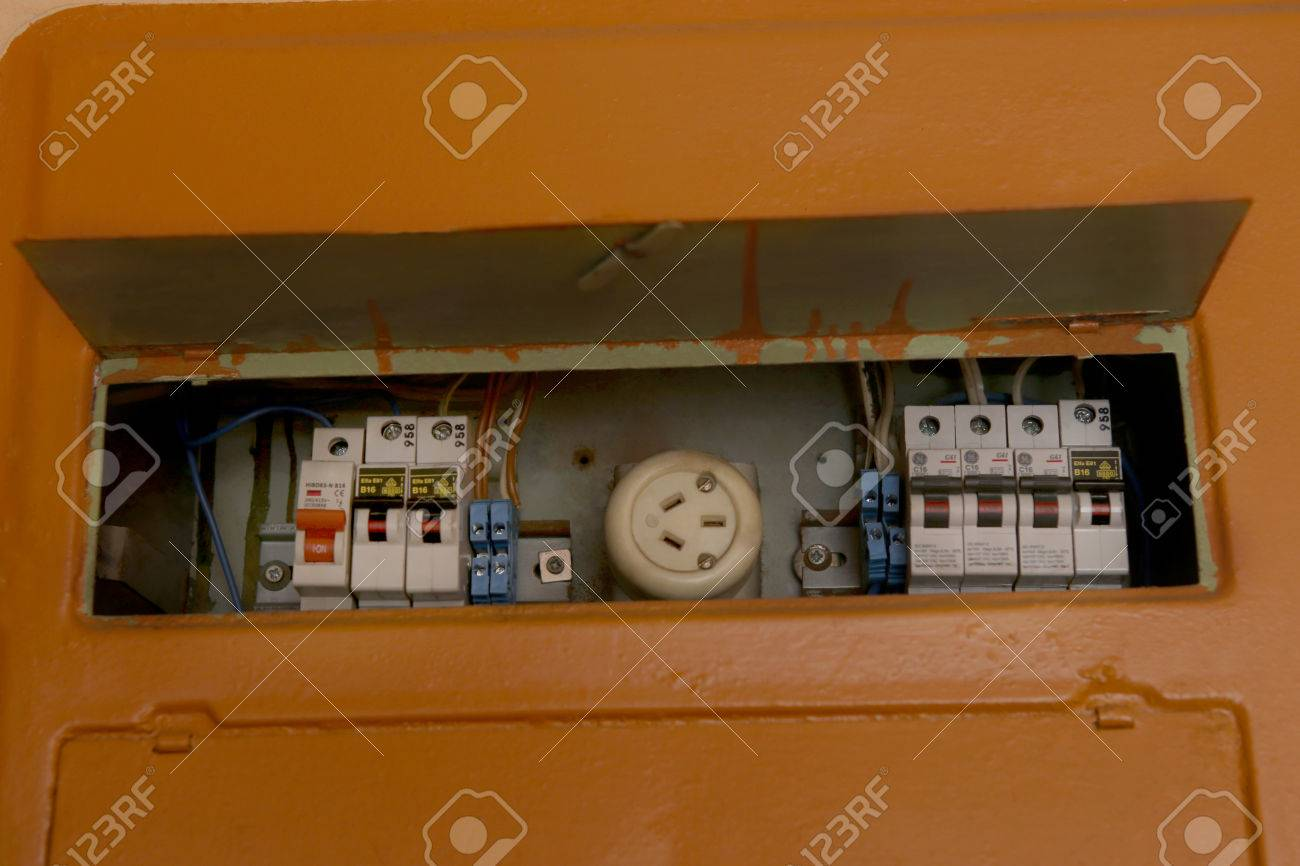Old Fuse Box Home Electrical Wiring Diagrams Equipment Fusebox In House Stock Vintage