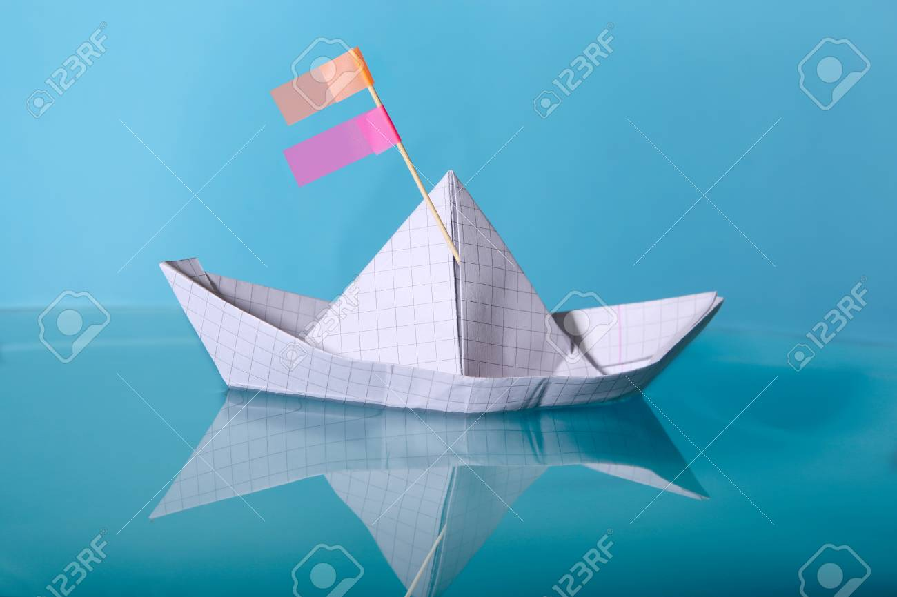 Paper Boat Made From Notebook Paper Origami Paper Ship With Stock