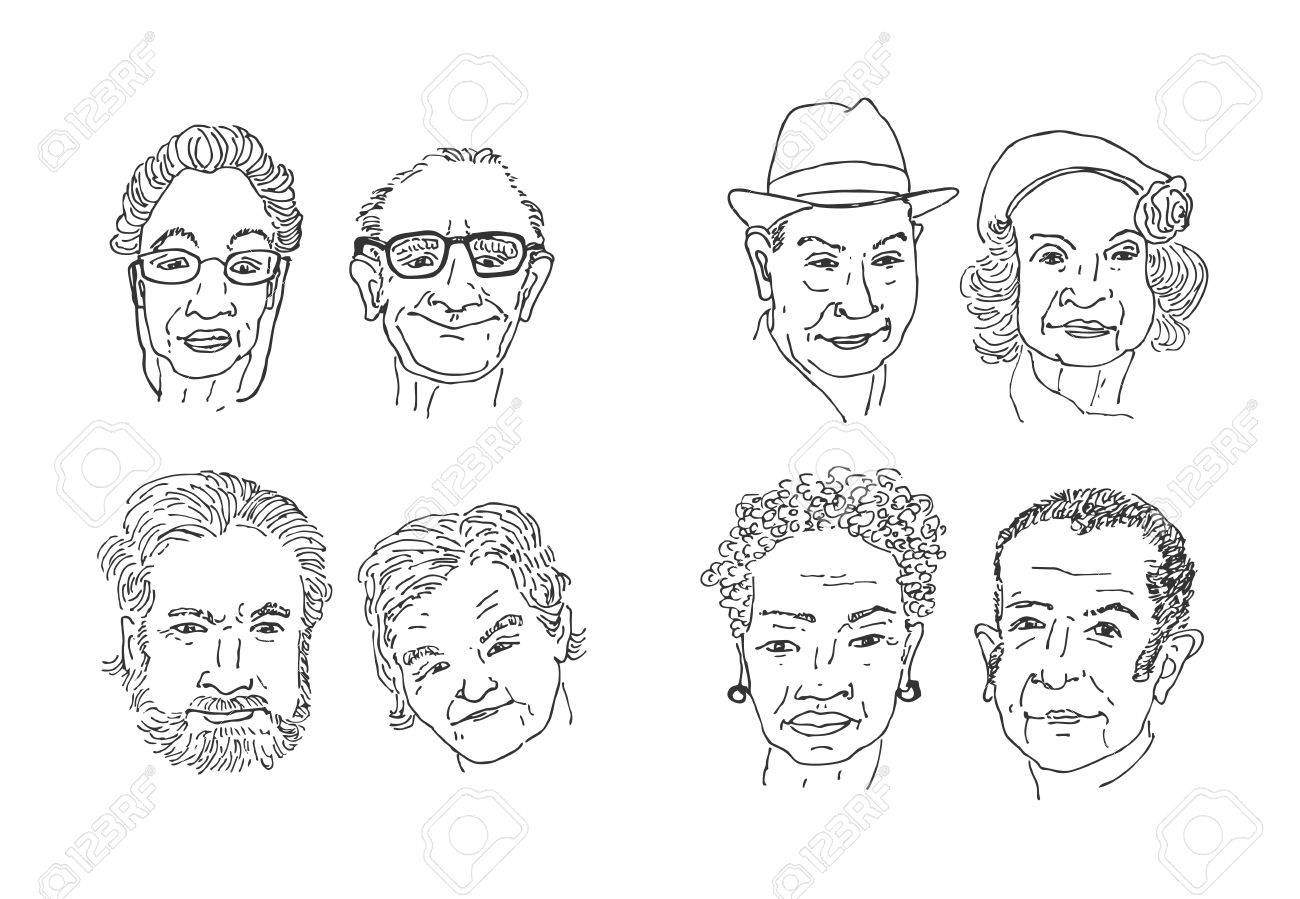 Old people faces drawing men and women faces hand drawing cartoon faces sketching vector
