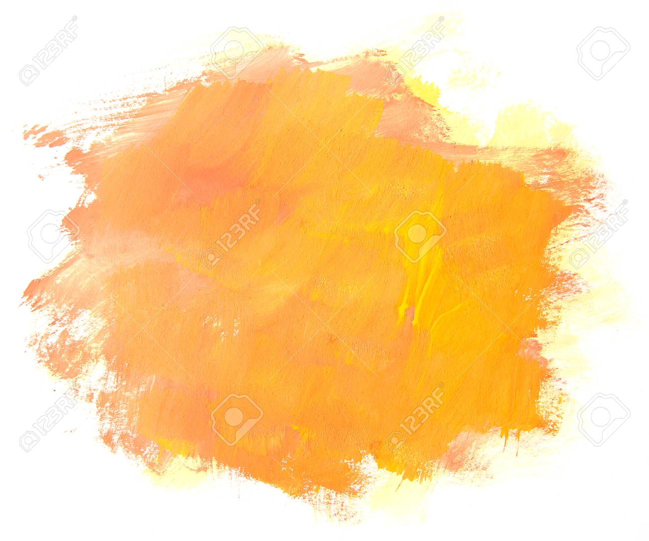 Abstract Orange Painting Isolated On White Background Artistic