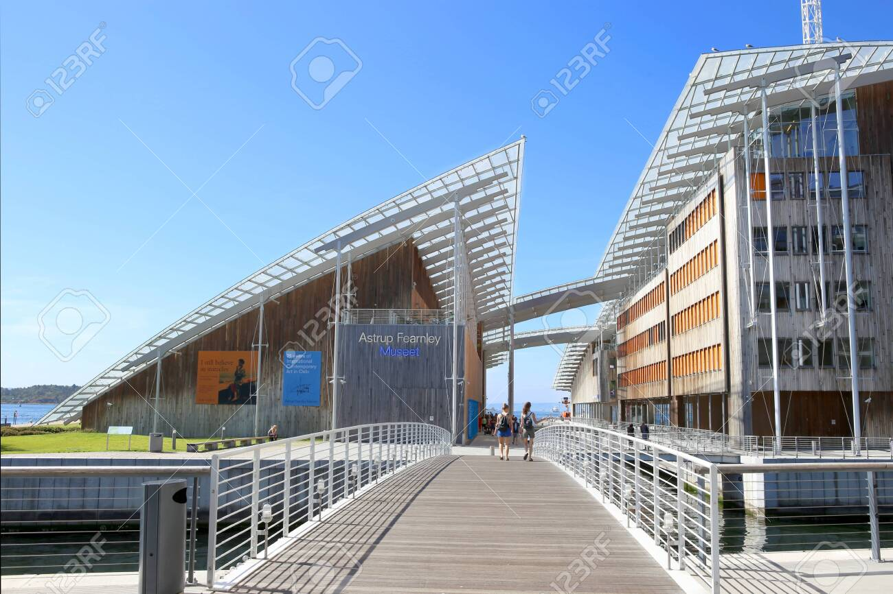 Oslo, Norway - July 24, 2018: Astrup Fearnley Museum of Modern Art. Astrup Fearnley Museum is a contemporary art gallery connects canals in the waterfront of Oslo in Aker Brygge district. Museum designed by Renzo Piano. It consists of two buildings. - 135434200