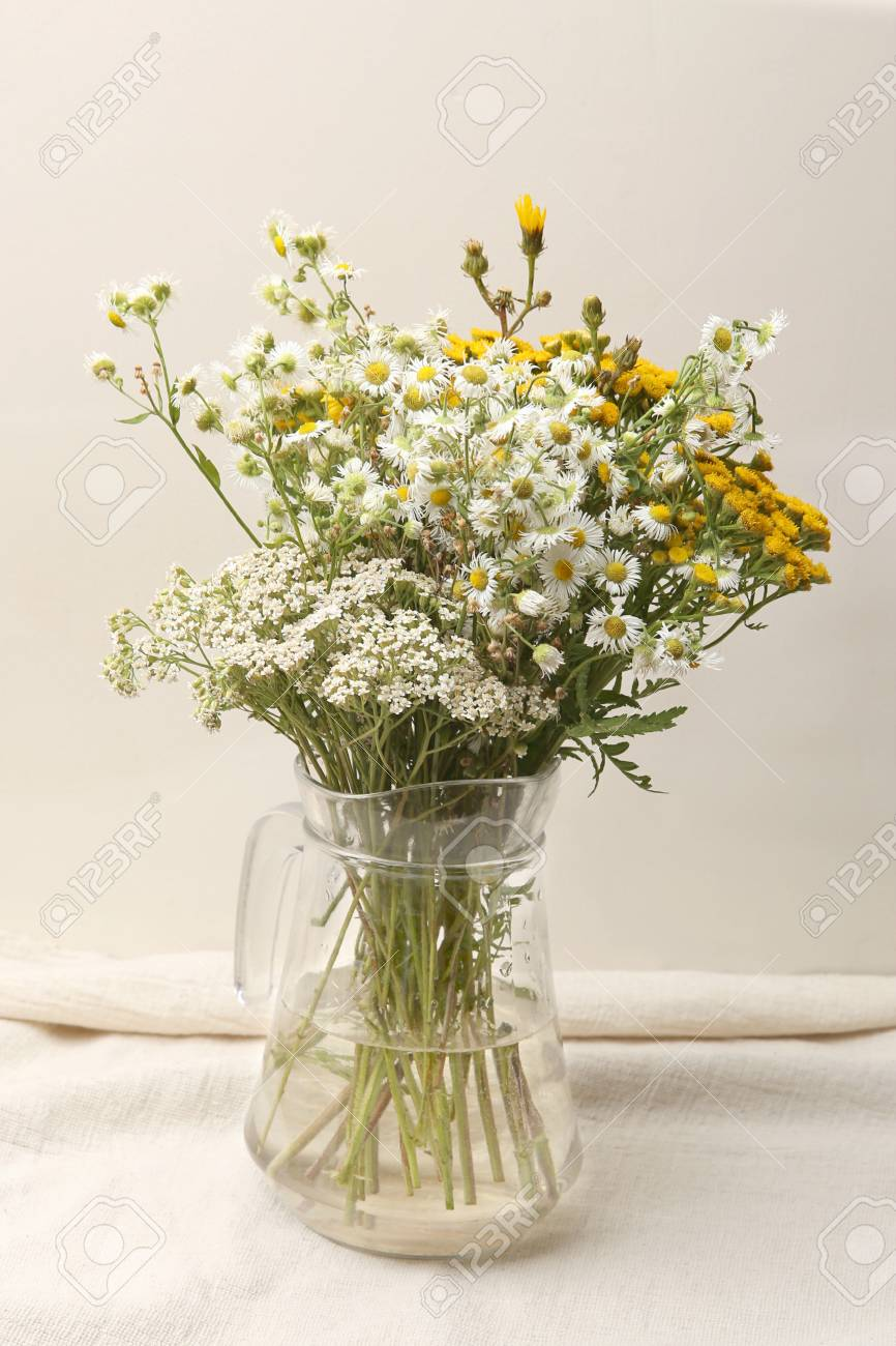 Vase With Bouquet Of Wildflowers Bouquet Of Wild Flowers In Stock Photo Picture And Royalty Free Image Image 109110593
